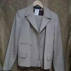 Tan wool suit with cranberry colored lining